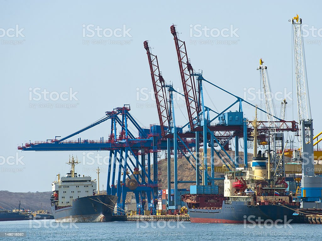 terminal at russian cargo port Vladivostok royalty-free stock photo