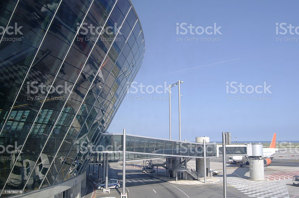 Terminal building at Nice Airport. Provence. France royalty-free stock photo