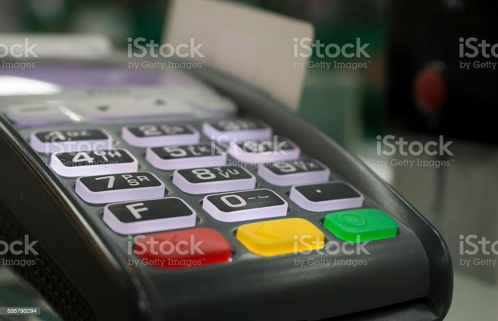 Terminal cashless payment, credit card stock photo