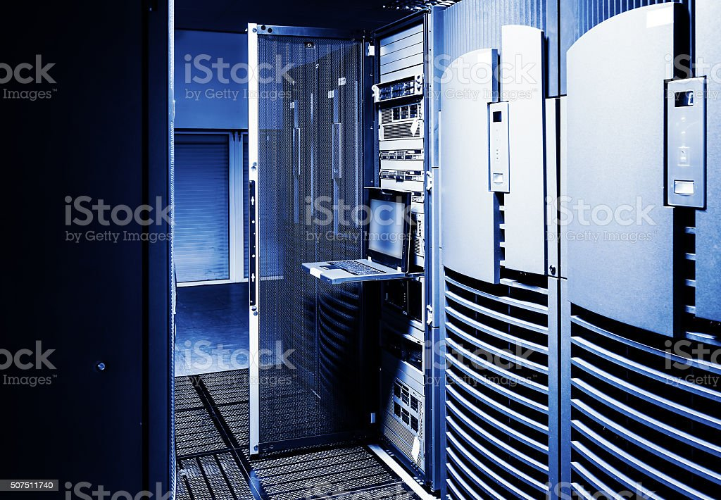 Terminal control mainframe in the data center ranks among supercomputers stock photo