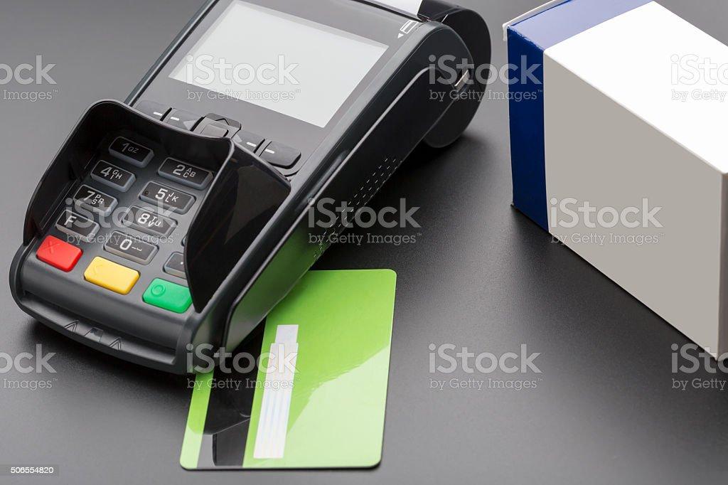 POS terminal, credit card and pill box stock photo