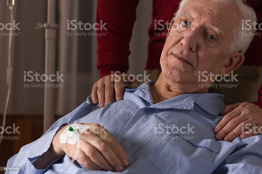 Terminal patient on a drip stock photo