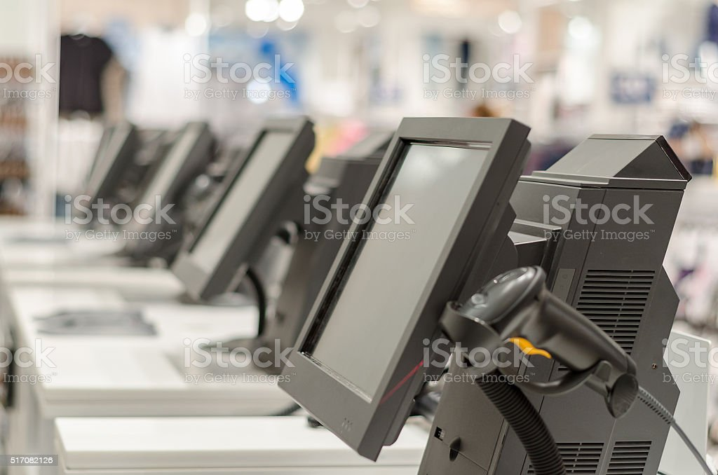 Terminals and cash registers stock photo