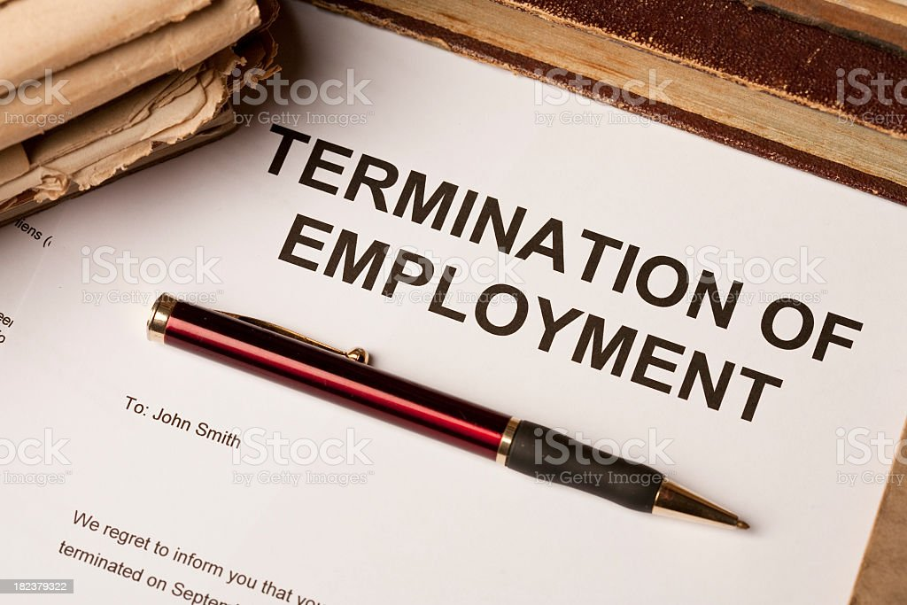 Termination of employment contract stock photo