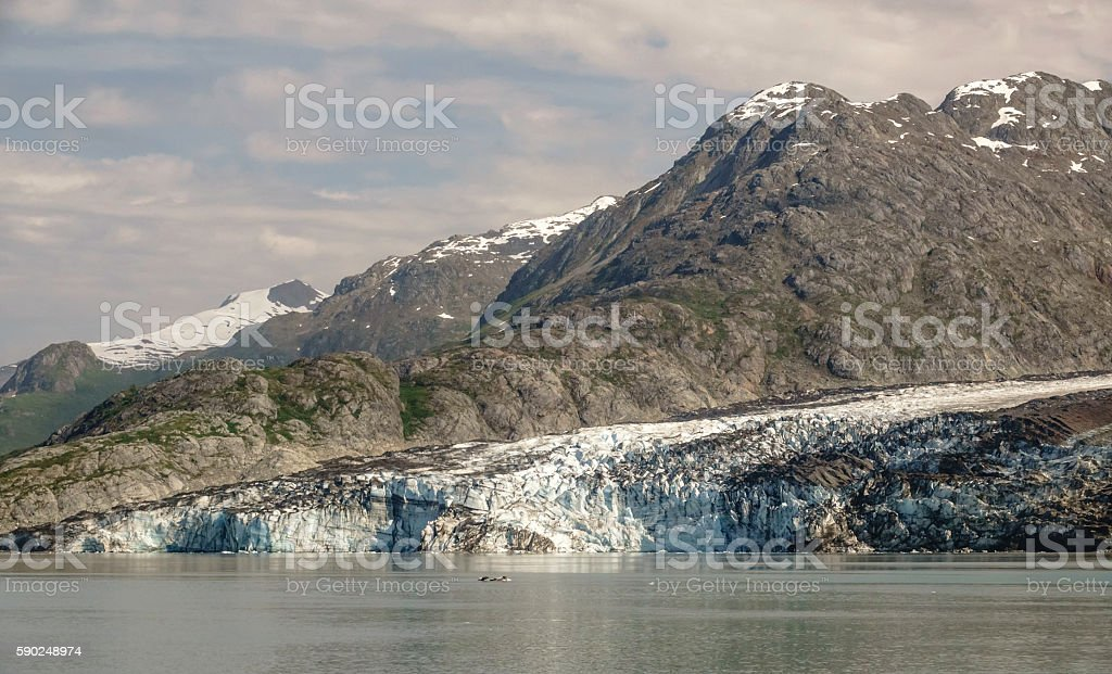 Terminus of Lamplugh Glacier in Alaska stock photo