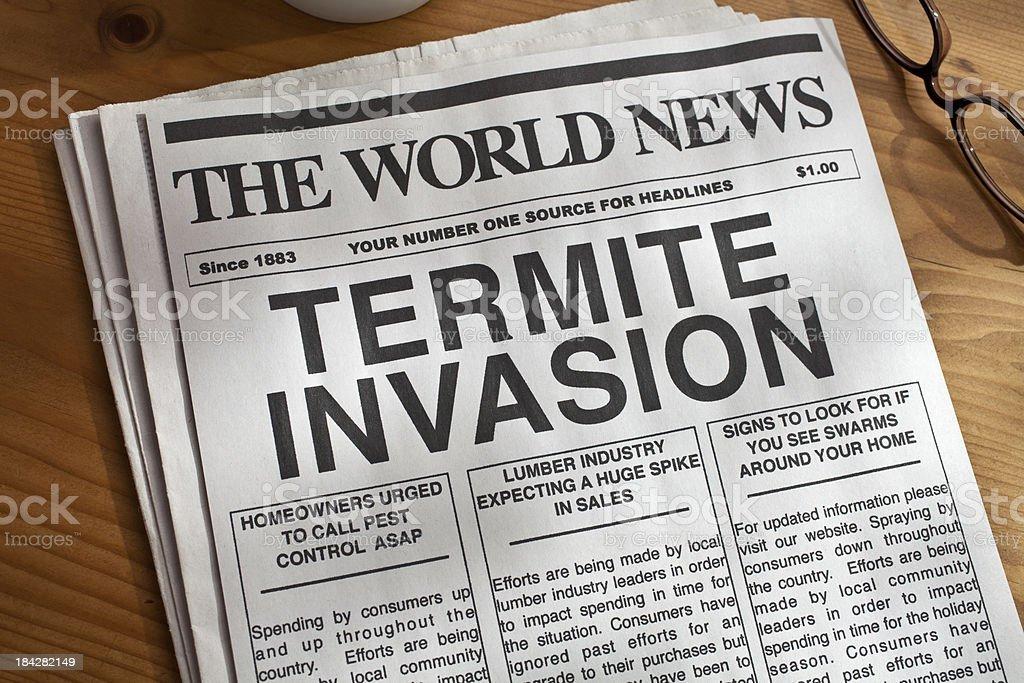 Termite Invasion Newspaper Headline stock photo
