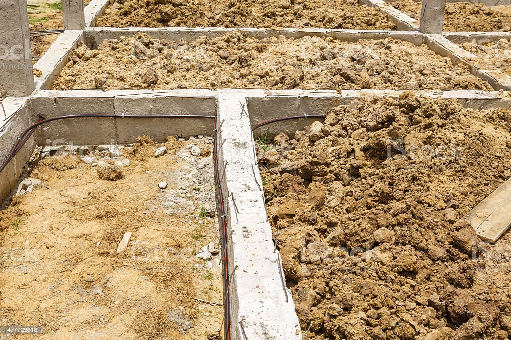 termite protection system on home foundation stock photo