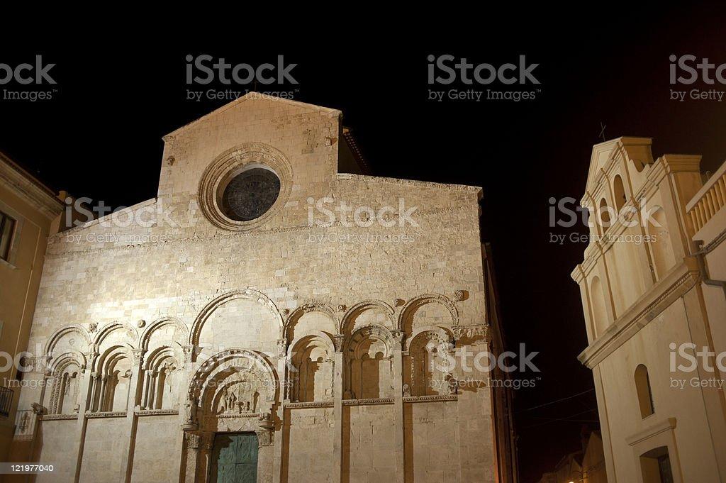 Termoli (Campobasso, Molise, Italy): cathedral at night royalty-free stock photo