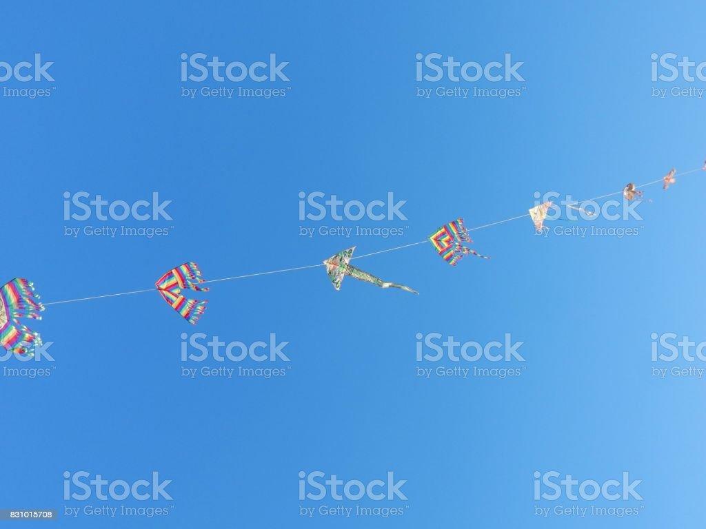 Termoli - Filo di aquiloni in cielo stock photo