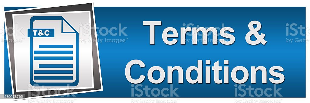 Terms and Conditions Blue Grey Banner stock photo