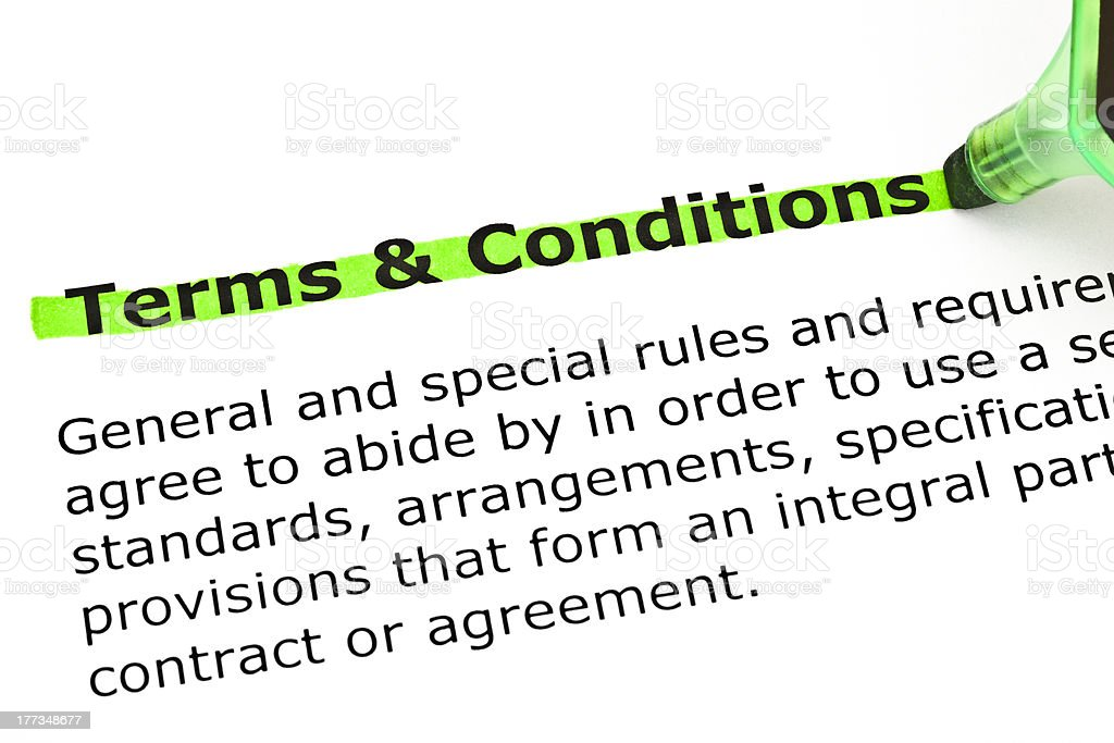 Terms and Conditions highlighted in green stock photo