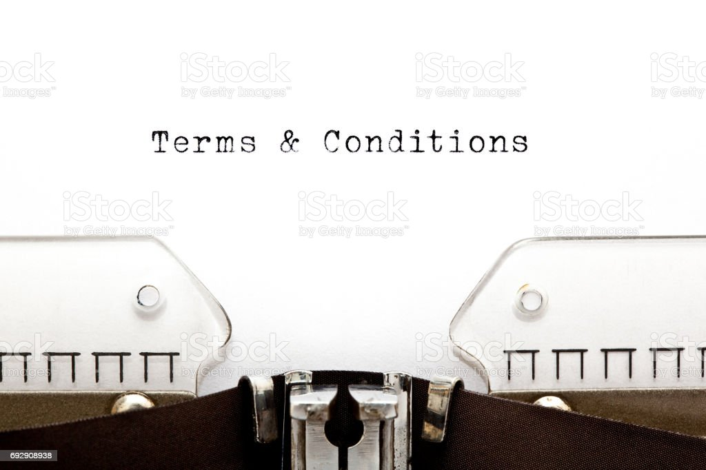 Terms And Conditions On Typewriter stock photo