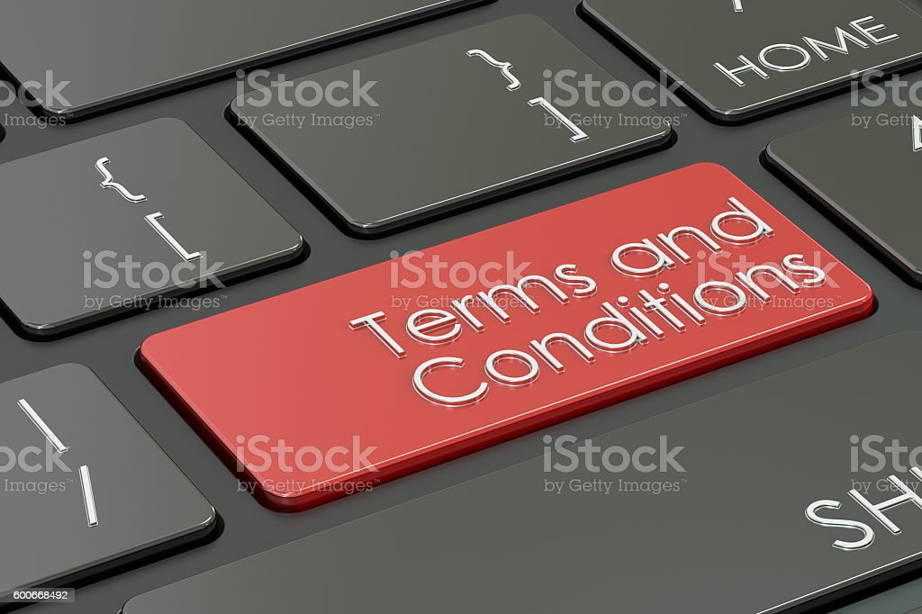 terms and conditions, red key on  keyboard. 3D rendering stock photo