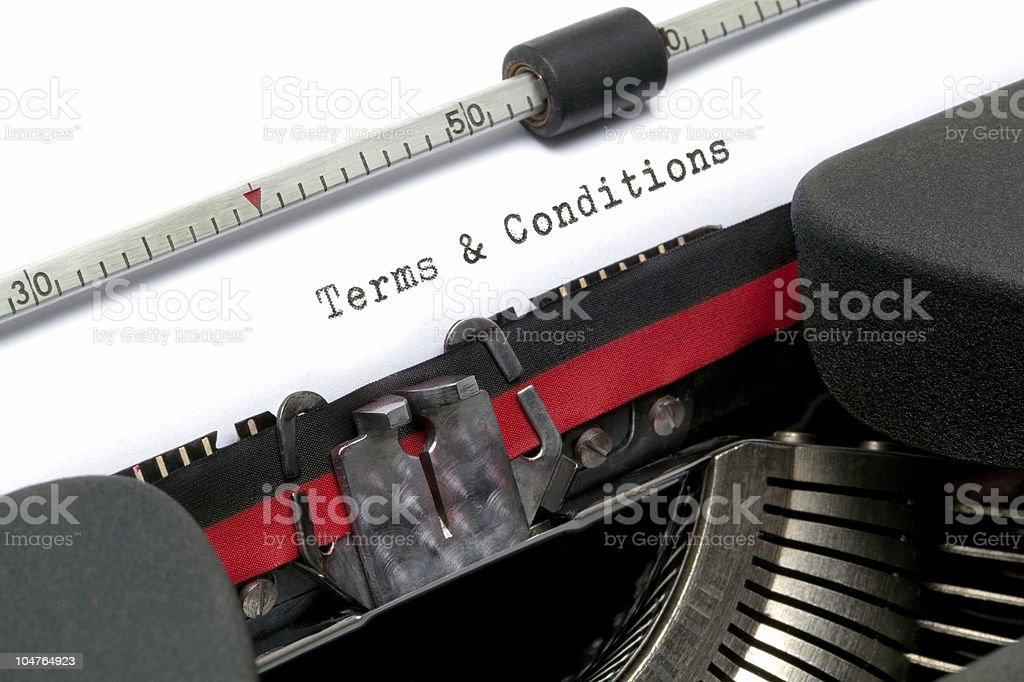 Terms and Conditions typewriter stock photo