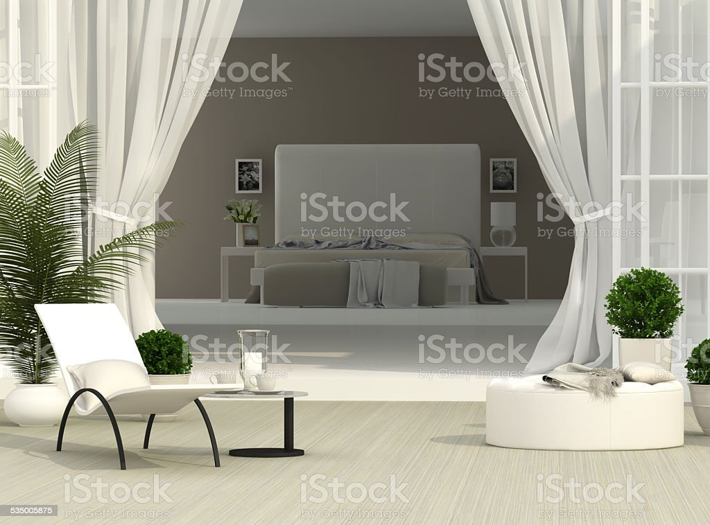 Terrace and bedroom stock photo