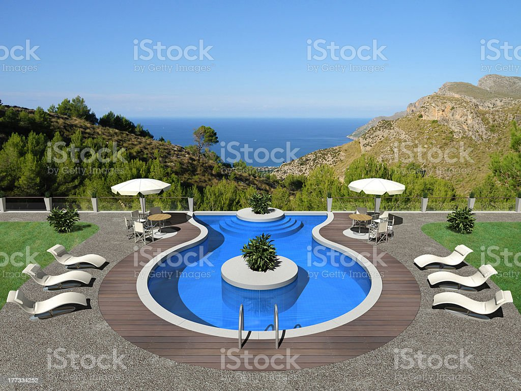 Terrace and swimming pool royalty-free stock photo