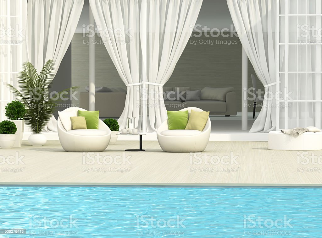 Terrace and white furniture stock photo