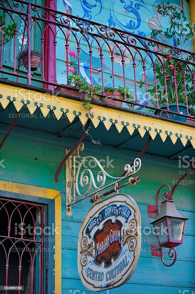 Terrace at colorful house in La Boca, Buenos Aires, Argentina stock photo
