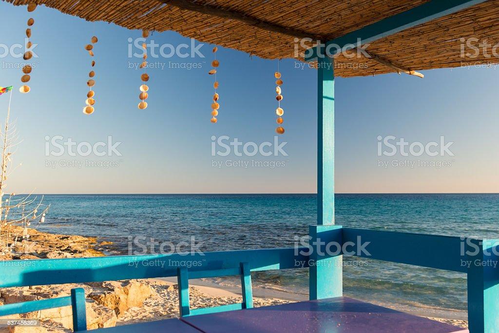 Terrace at Mediterranean Sea stock photo