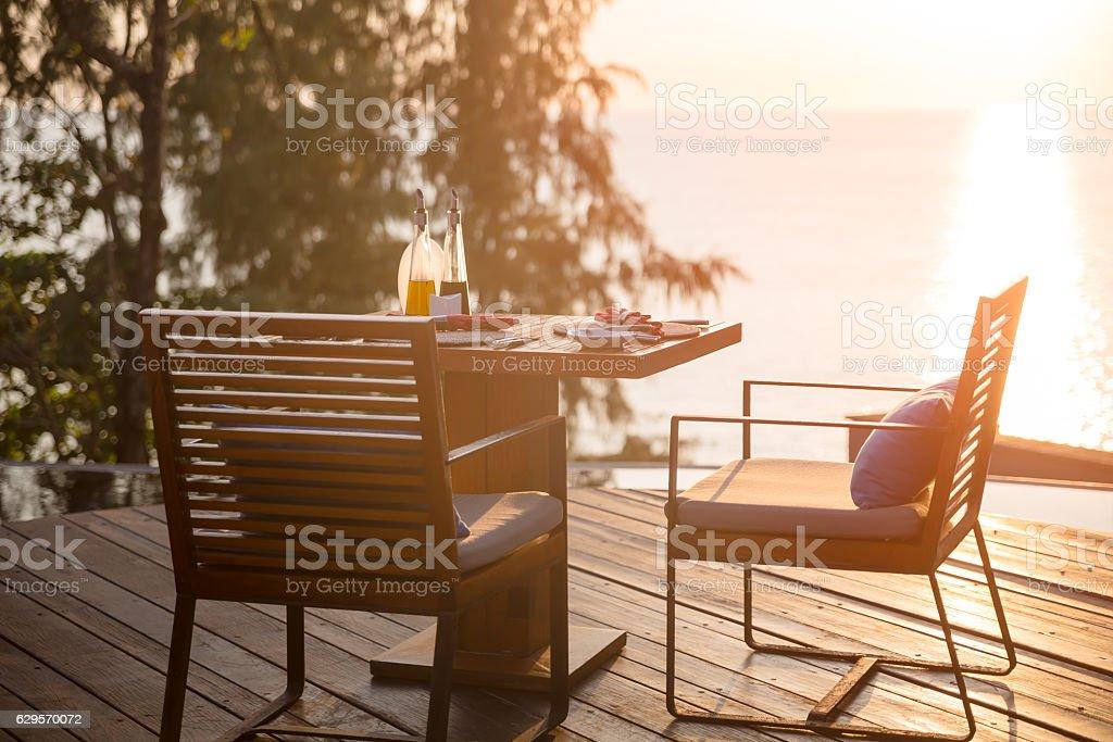 terrace at sunset stock photo