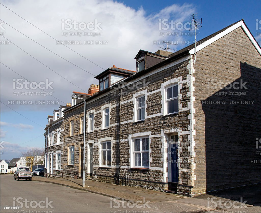 Terrace Houses in Cardiff stock photo
