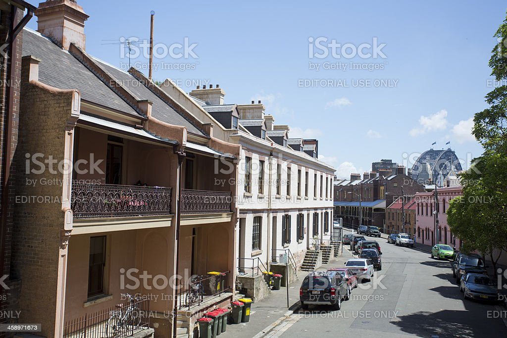 Terrace Houses, The Rocks, Sydney, Australia stock photo