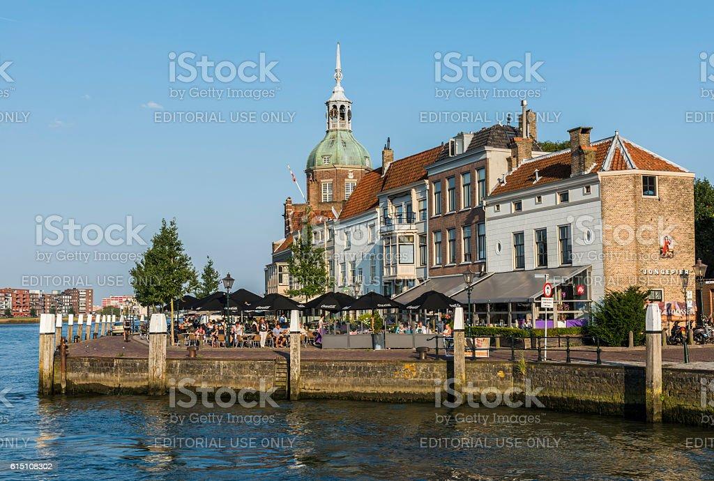 Terrace in Dordrecht stock photo