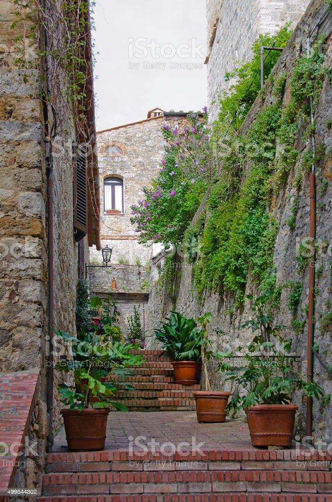 Terrace in San Gimignano, Italy stock photo