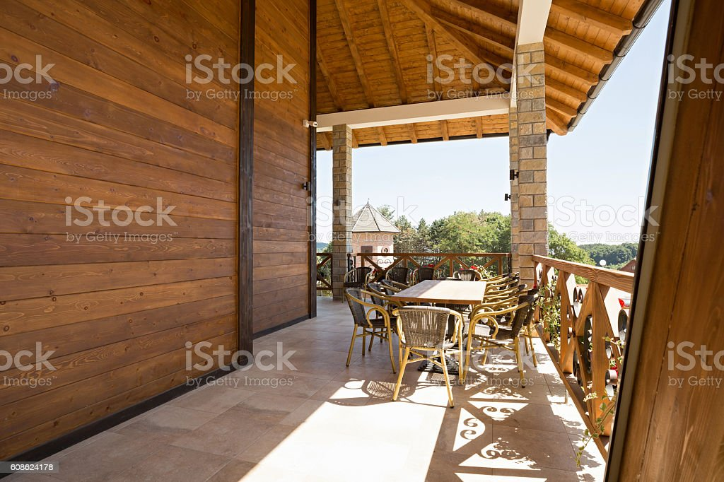 Terrace in spacious hotel apartment stock photo