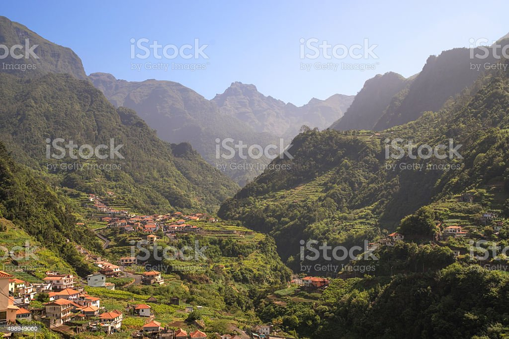 Terrace landscape and rugged mountain scenery of Madeira stock photo