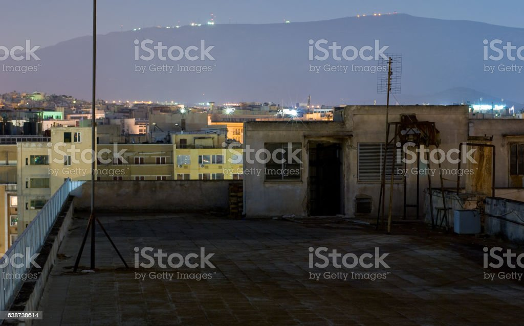 Terrace, night-view of the city, Athens stock photo