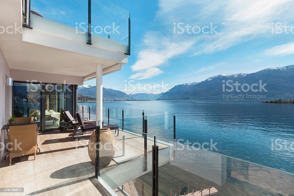 terrace of a building, beautiful landscape stock photo