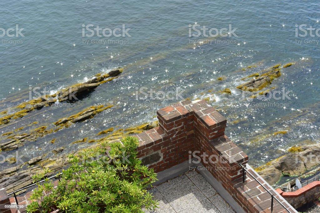Terrace of a castle stock photo