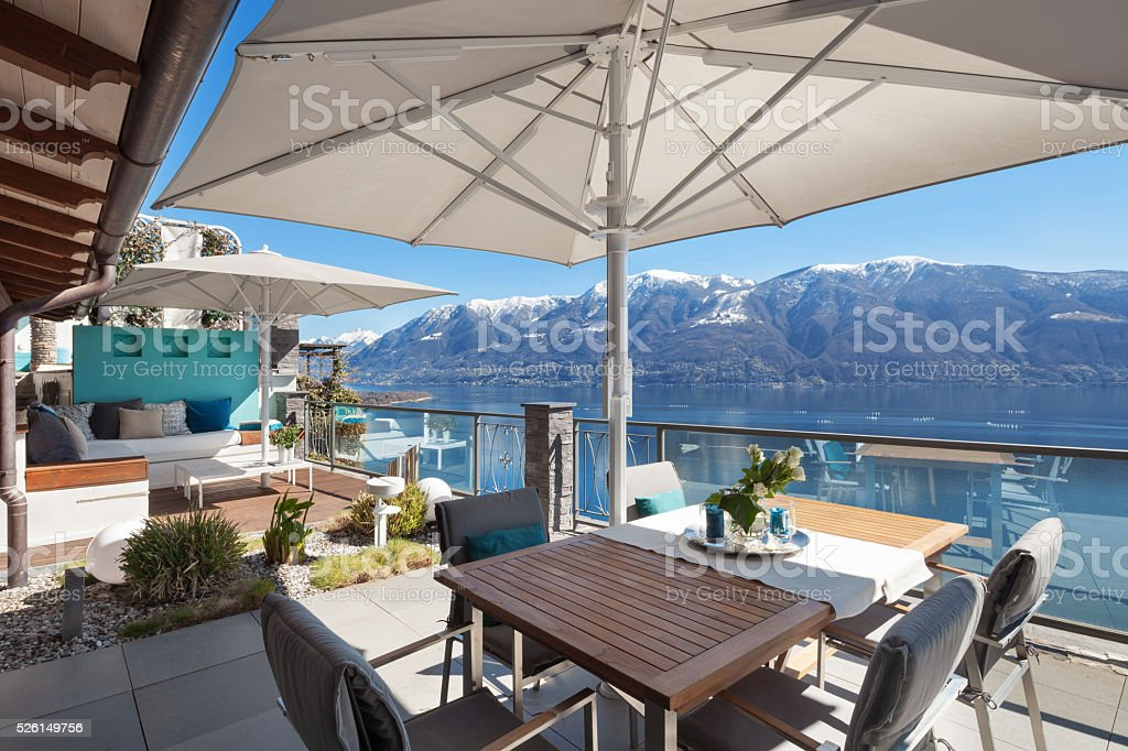 terrace of a luxury house stock photo