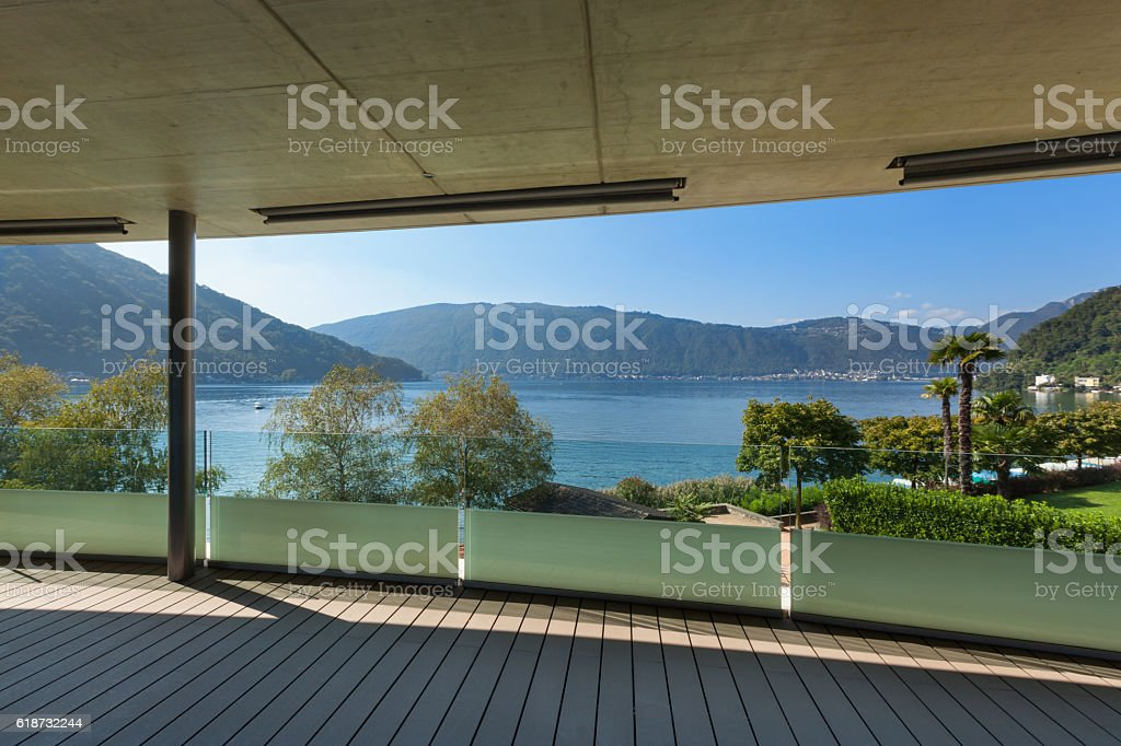 Terrace of a modern building stock photo
