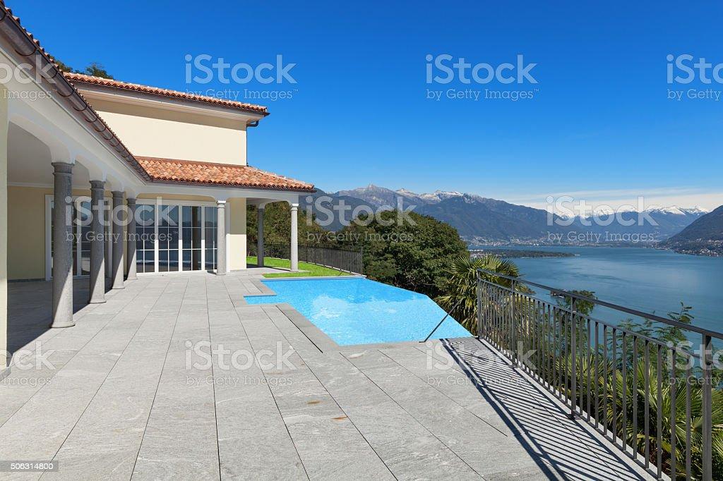 Terrace of an a house, exterior stock photo