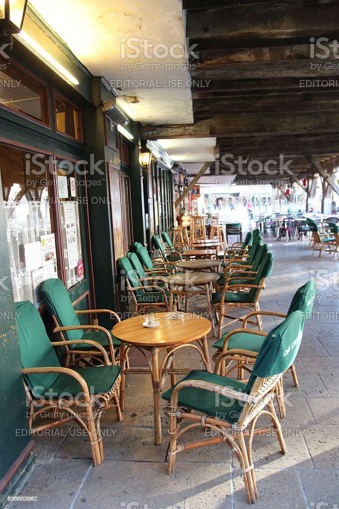 Terrace of bar in Mirepoix stock photo