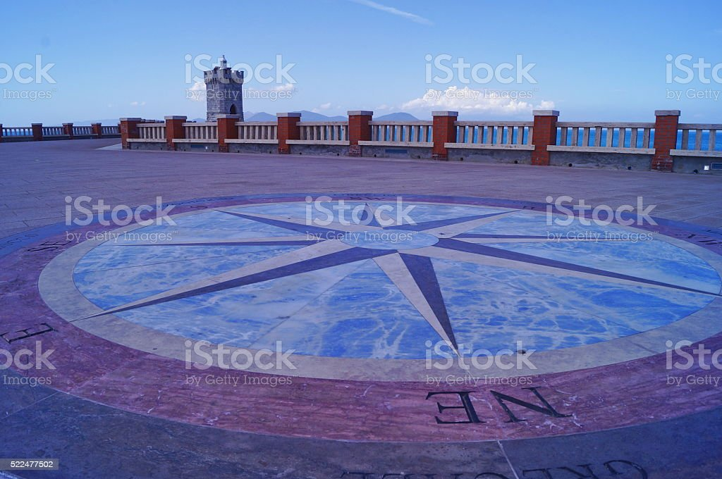 Terrace of Bovio square in Piombino stock photo