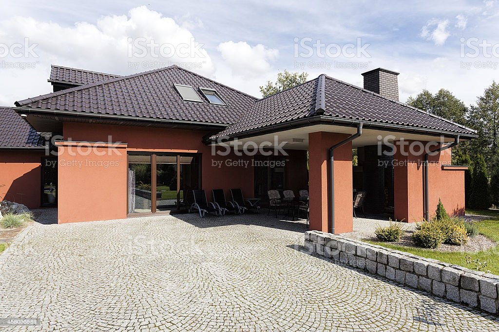 Terrace of luxury mansion royalty-free stock photo