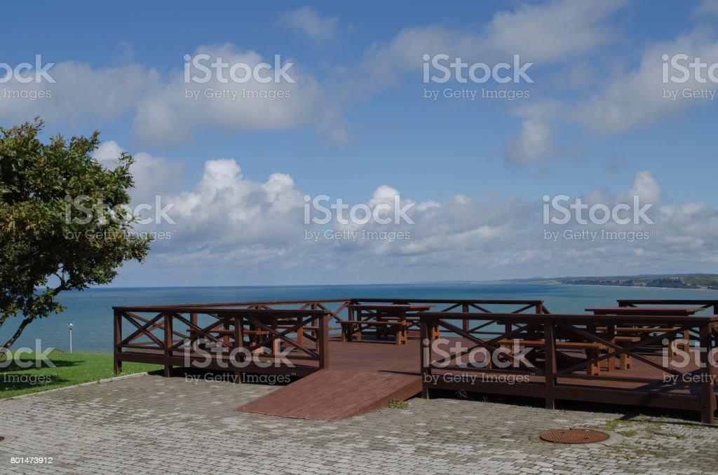 Terrace of Misaki Taden Park stock photo