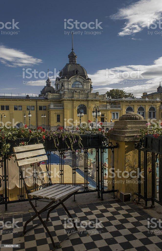Terrace of szechenyi bath stock photo