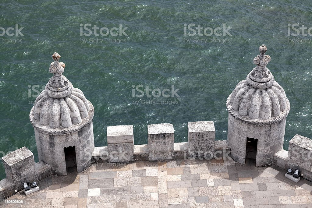 Terrace of the Belem Tower by Tagus River, Lisbon, Portugal royalty-free stock photo