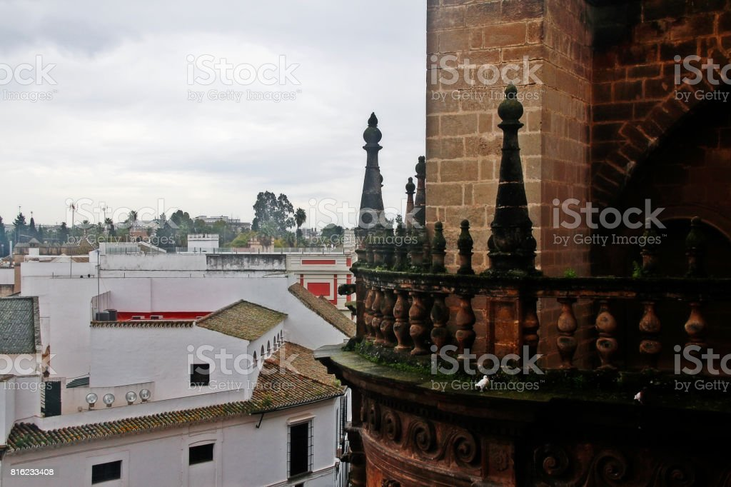 Terrace of the Giralda (La Giralda), the bell tower of Seville Cathedral or Cathedral of Saint Mary of the See (Catedral de Santa Maria de la Sede), Seville, Andalusia, Spain stock photo