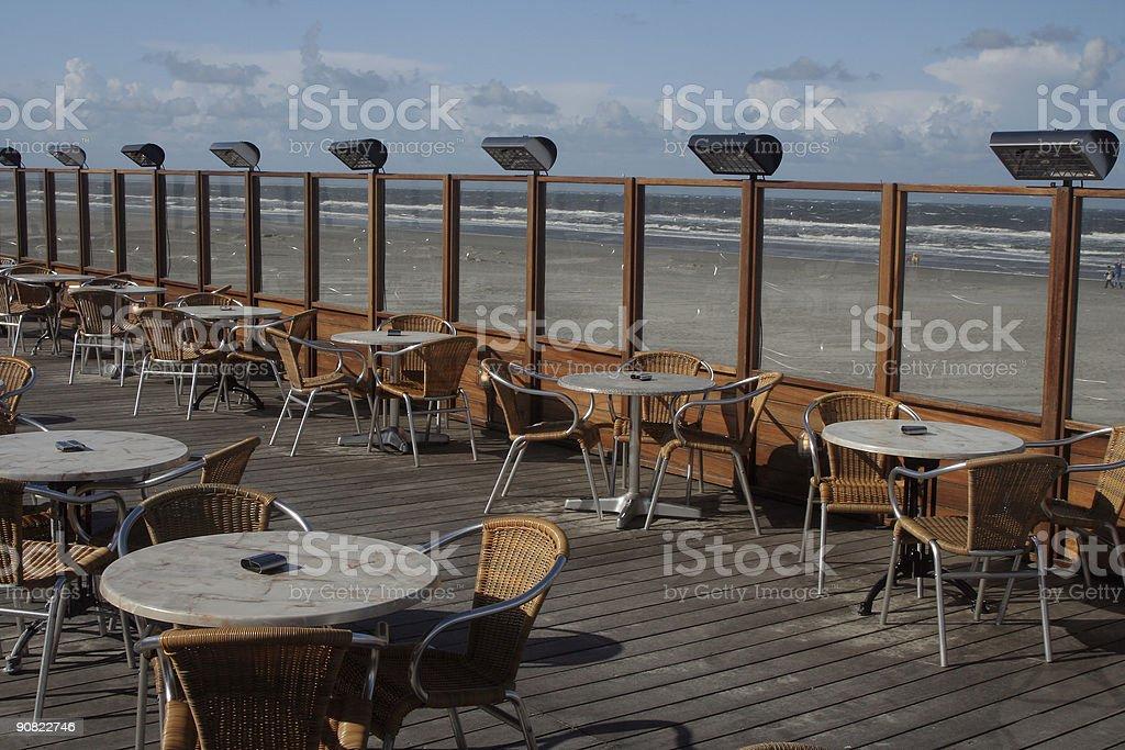 Terrace on the beach stock photo