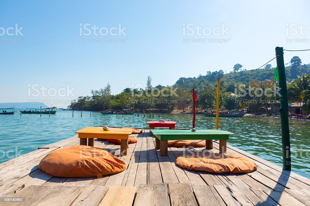 Terrace on the Pier of Koh Rong Island, summer concept stock photo