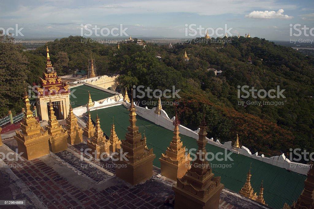 Terrace on U Min Thonze ,Sagaing hill. stock photo