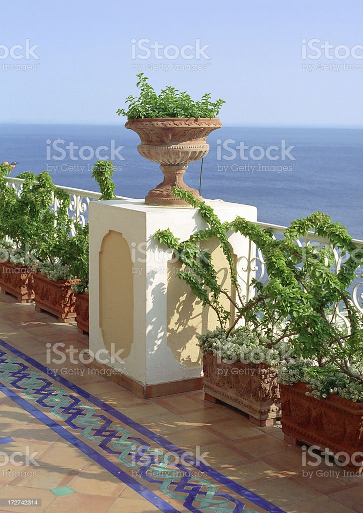 Terrace Overlooking Sea royalty-free stock photo