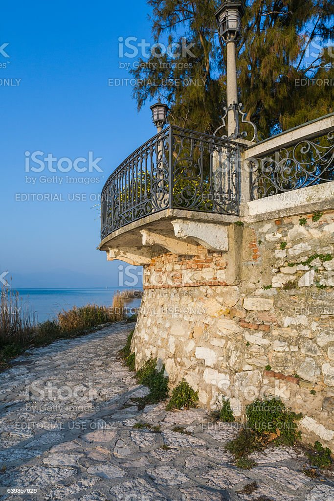 Terrace overlooking the lake, with lampposts stock photo
