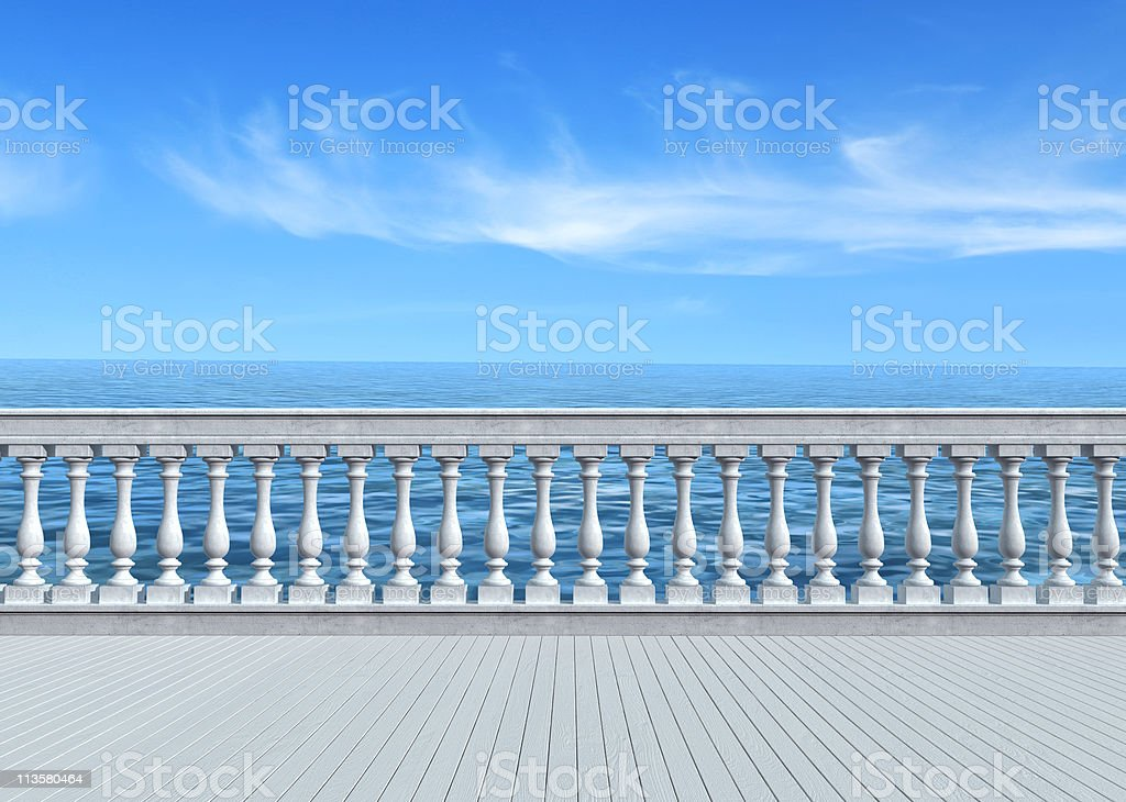 terrace overlooking the sea royalty-free stock photo