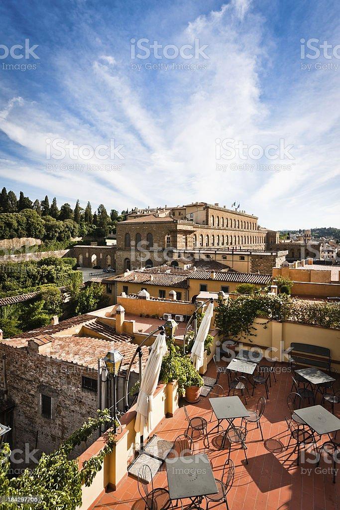 Terrace Overlooks on Pitti Palace in Firenze, Italian Renaissance Architecture stock photo